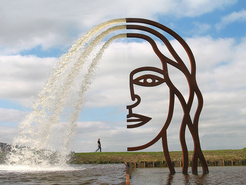 Public Art sculpture fountain-Joure-BlokLugthart