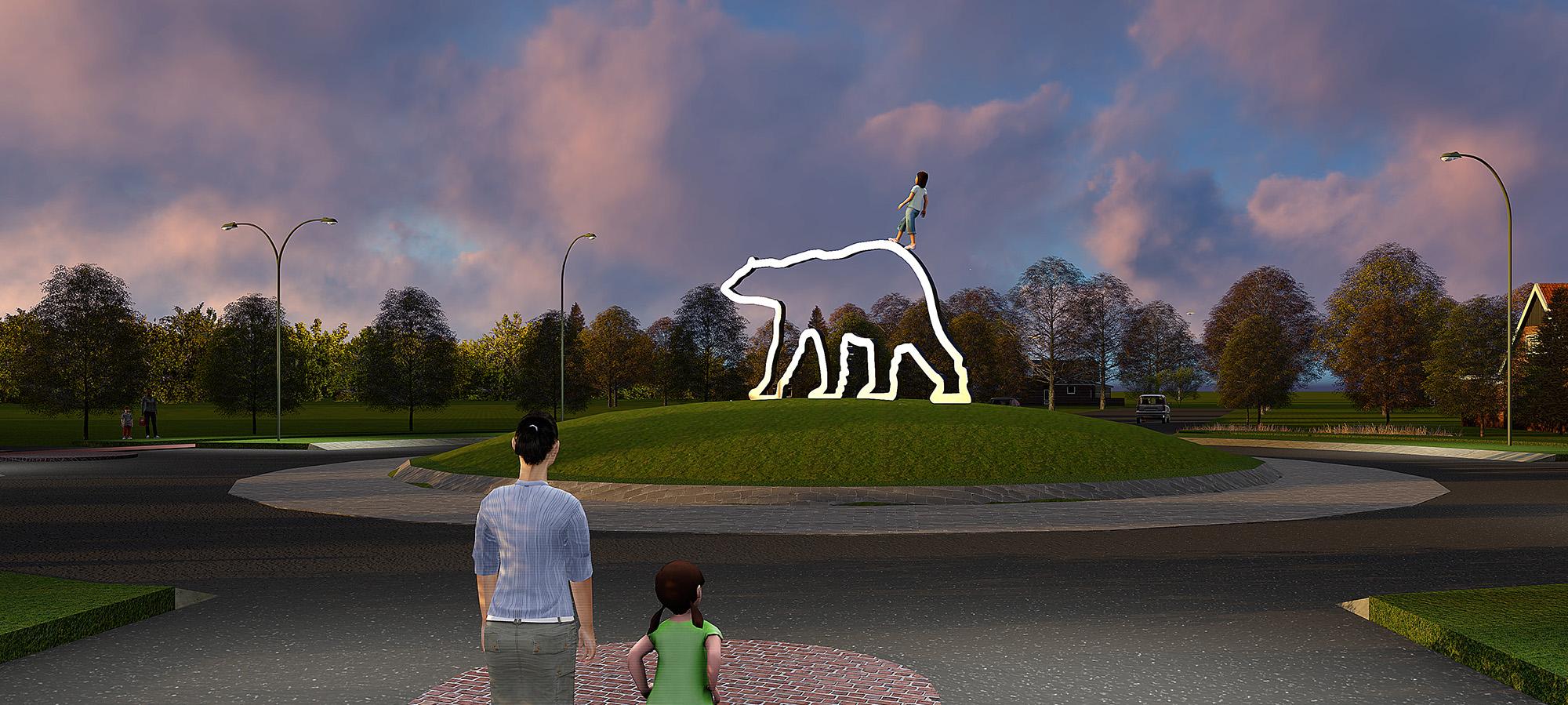 Public art sculpture bloklugthart